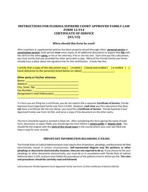 service florida certificate of service form florida free
