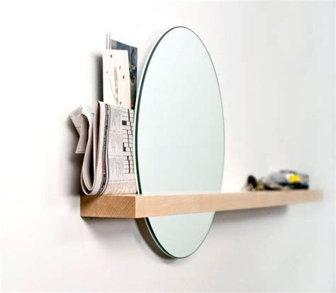 Rise Set rise set mirror mirror and solid wood shelf by