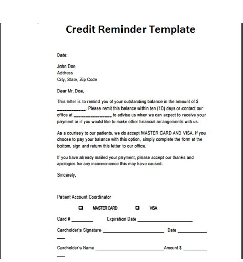 Credit Email Template 21 Free Credit Reminder Template Word Excel Formats