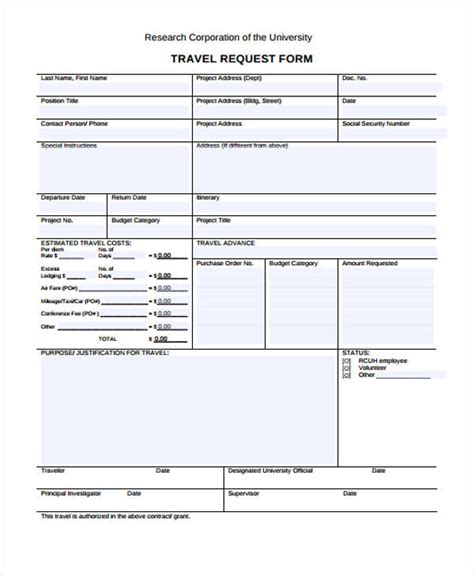 Travel Request Form Template Business Travel Request Form Template