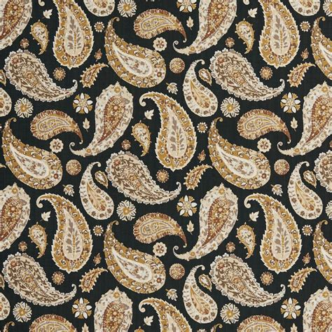 Large Print Upholstery Fabric by B0490a Black Brown And Taupe Large Paisley Print Upholstery Fabric