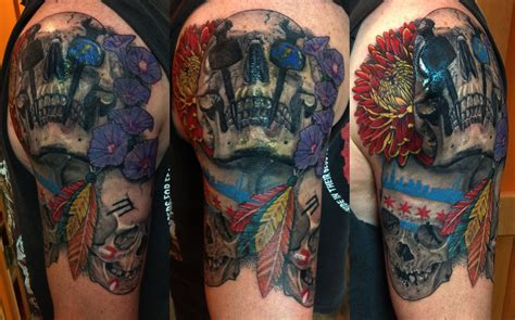 chicago blackhawks tattoo iron worker and chicago blackhawks skulls tattoonow