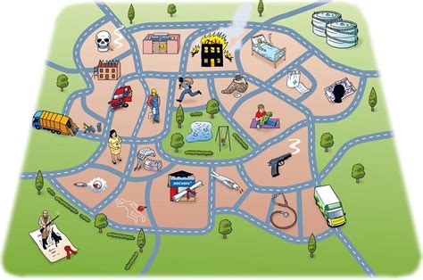 town map illustrated town map