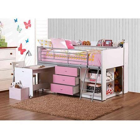 storage loft bed with desk white and pink storage loft bed with desk white and pink
