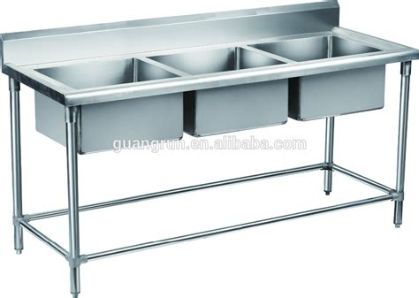used stainless steel with drainboard double bowl hotel used free standing commercial stainless