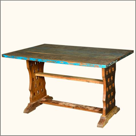 distressed reclaimed wood rustic trestle kitchen dining