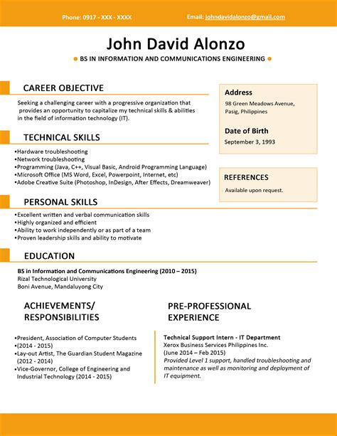 Sle Resume For Fresh Graduate Without Work Experience Sle Resume Format For Fresh Graduates One Page Format Jobstreet Philippines