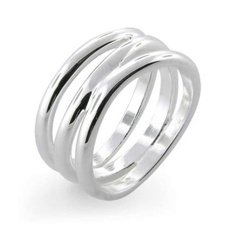 florence modern wave three row sterling silver ring