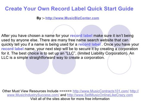 design your own record label create your own record label quick start guide