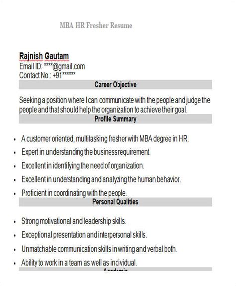 mba hr resume format doc 42 professional fresher resumes sle templates
