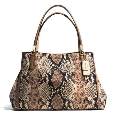 Coach Miranda Printed Python Satchel by Lyst Coach Cafe Carryall In Python Print Fabric