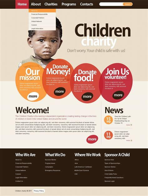 charity newsletter template child charity joomla template 35882
