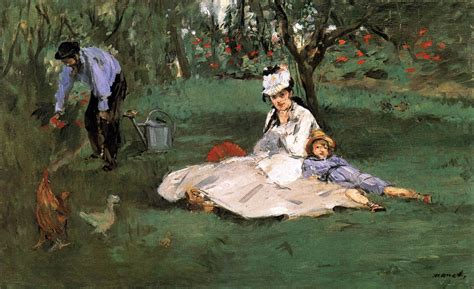 manet his life and 0754828948 the monet family in their garden at argenteuil by manet edouard