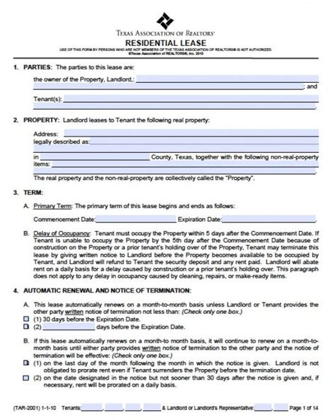 printable residential lease agreement texas free texas residential lease agreement pdf word doc