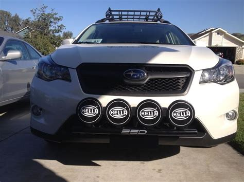 custom subaru crosstrek installed ssd performance rally light bar hella 500