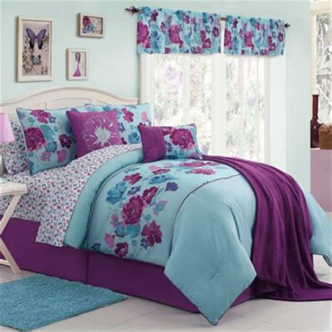 buy blue and purple comforters from bed bath beyond