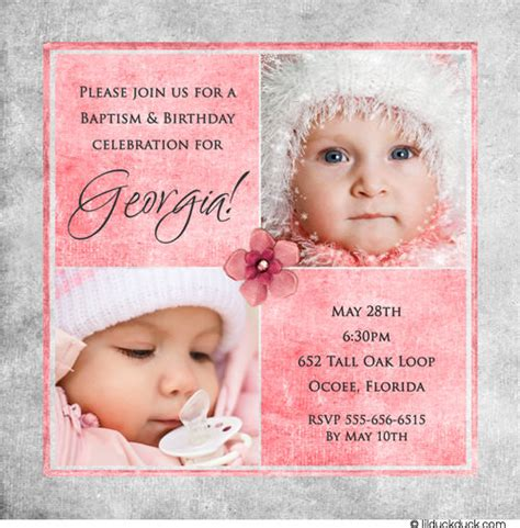Baptism And Birthday Party Together Invitation Cimvitation 1st Birthday And Christening Invitation Templates