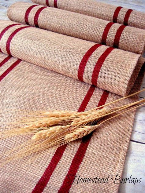 burlap table runner with red hand painted grain sack