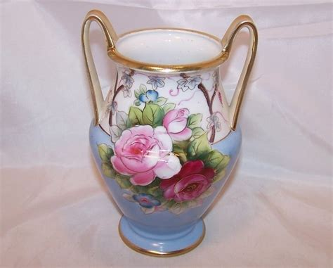 Painted Japanese Vases by Handled Painted Vase Noritake Japan Japanese