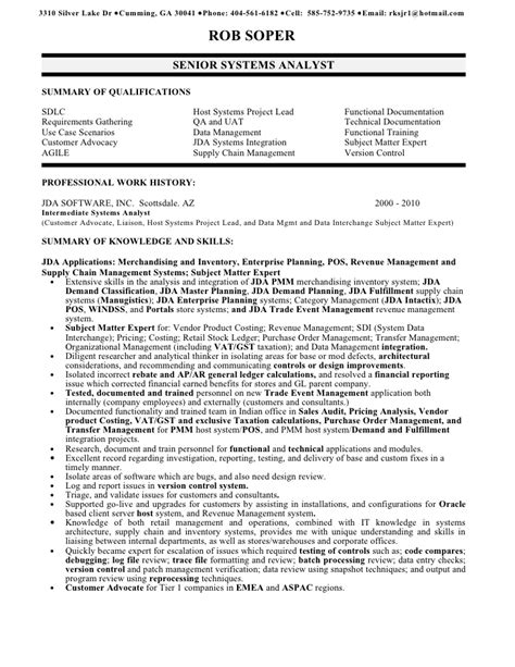 Systems Analyst Resume Sample by Rob Soper Senior Systems Analyst