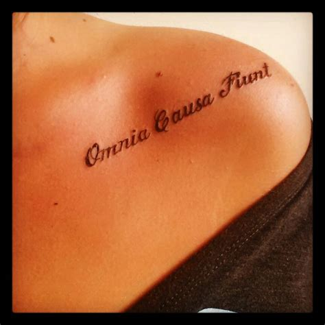 latin back tattoo my new tattoo this is the fourth omnia causa fiunt