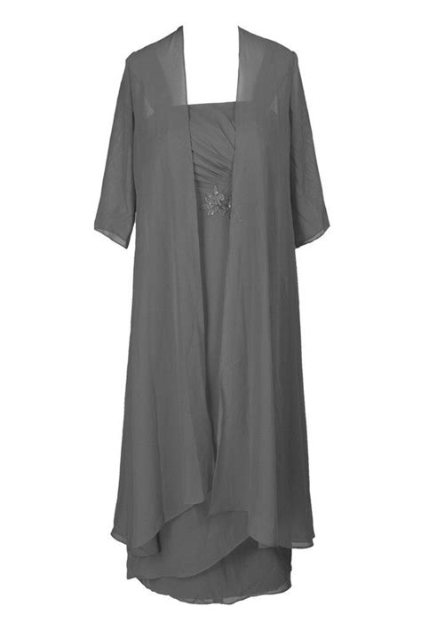 Ellames Plus Size Tea Length Mother Of The Bride Dresses With Jacket Grey US 22Plus | Alexis