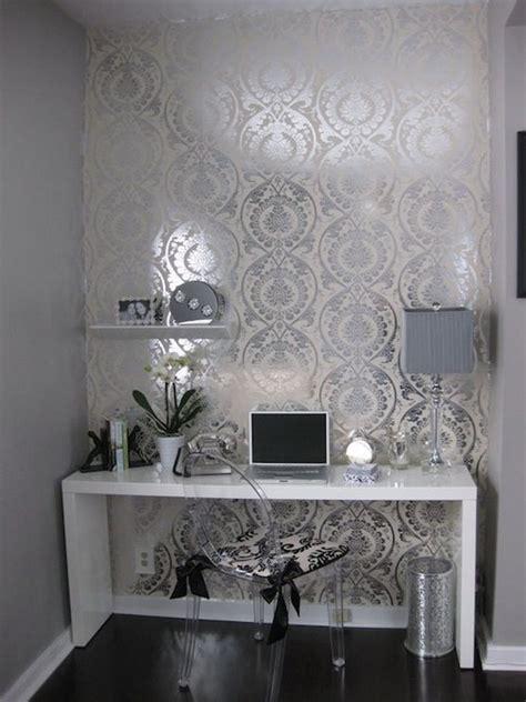 silver grey wallpaper living room interior design ideas with white desks interior designs home