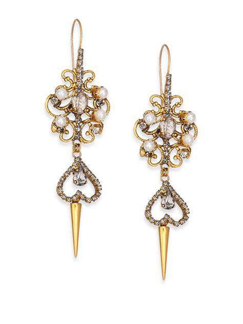 faux pearl chandelier earrings erickson beamon grapes of wrath faux pearl