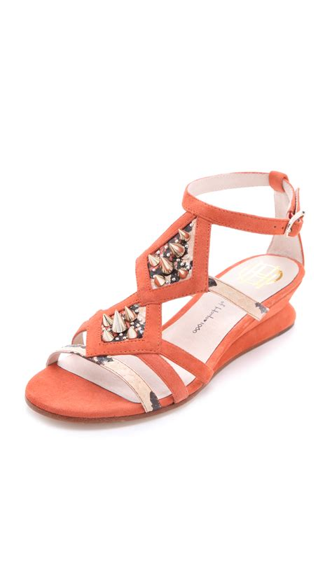 coral wedge sandals house of harlow 1960 celiney wedge sandals in orange