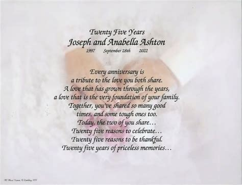 Free Anniversary Poems for Parents   25th 50th Wedding