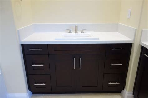 Quartz Countertops Bathroom Vanities by Espresso Shaker Vanity With Quartz Countertop