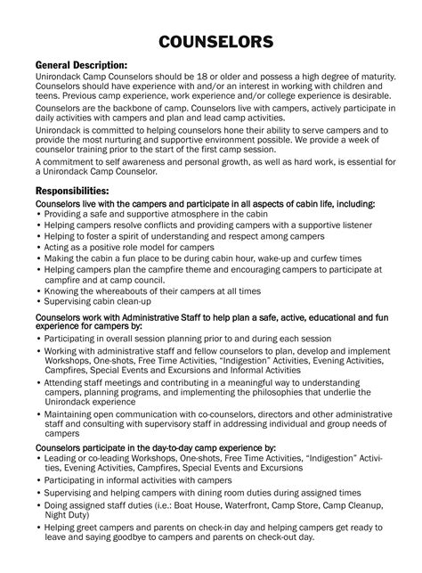 counselor description for resume staff packing list c unirondack