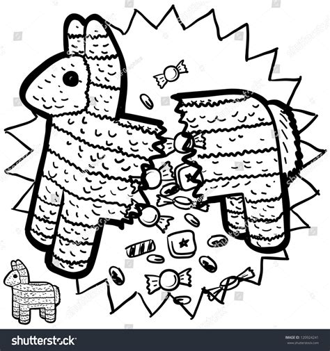 doodle pinata doodle style pinata sketch bursting stock vector