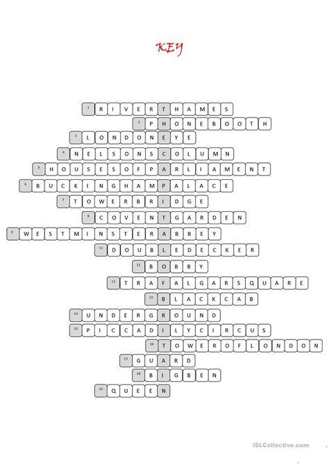 printable london puzzle london tour crossword puzzle worksheet free esl