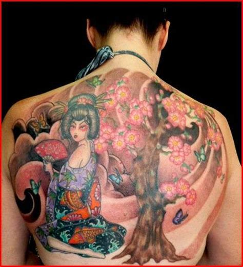 geisha tattoo with cherry blossoms geisha cherry blossom half back tattoo