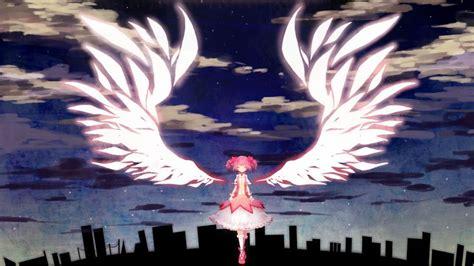 anime girl angel wings madoka magica kaname madoka anime angel wings