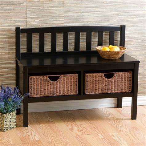 black bench with baskets black bench with brown rattan baskets indoor benches at