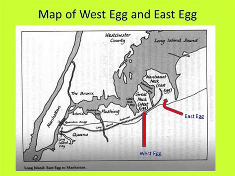 east egg and west egg in the great gatsby chart map of east and west egg gatsby lizzie cole greenblatt ppt