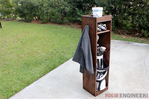 Wood Outdoor Storage Bench Diy Golf Locker Free Amp Easy Plans Rogue Engineer