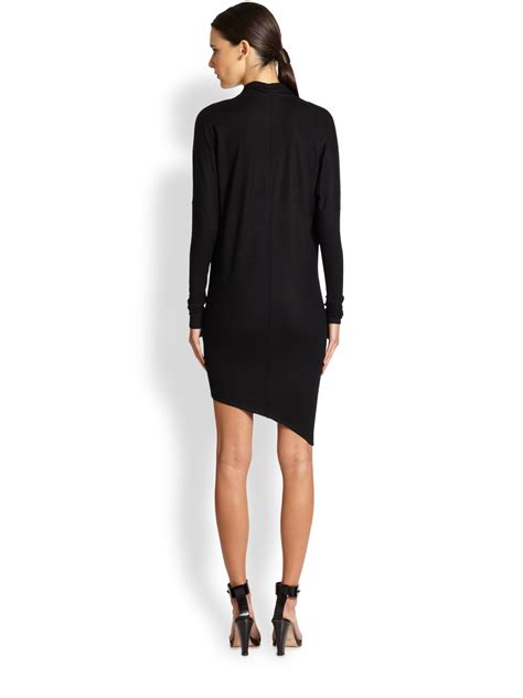 asymmetrical draped dress helmut lang sonar asymmetrical draped wool dress in black