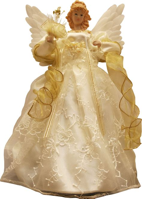 christmas decorations  gold  ivory animated fiber optic angel tree topper