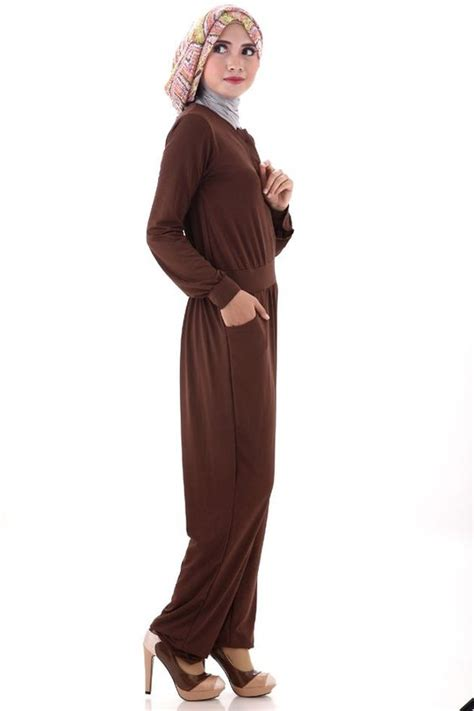 Jumpsuit Grosir Agatha Jumpsuit Coklat Tua Dress Muslim Wanita