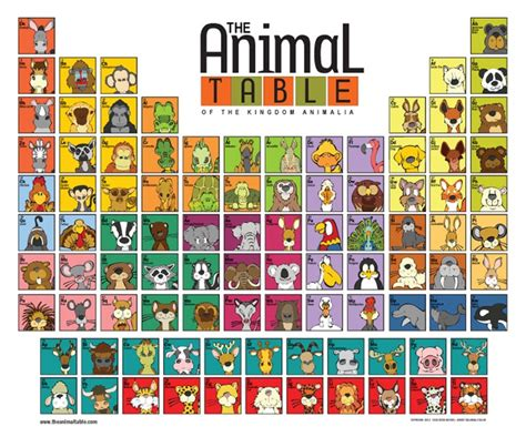 periodic table of dogs the table of the kingdom of animalia