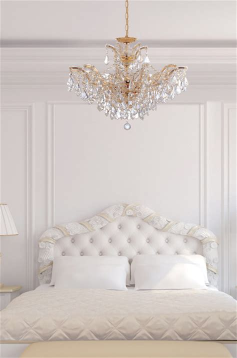 maria theresa gold crystal chandelier  white bedroom