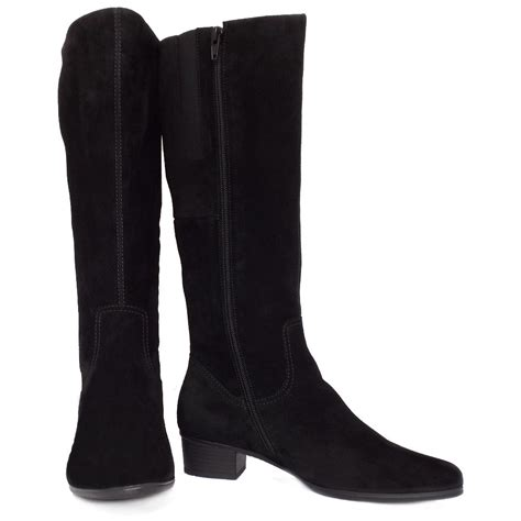 gabor toye knee high black suede boots low heel