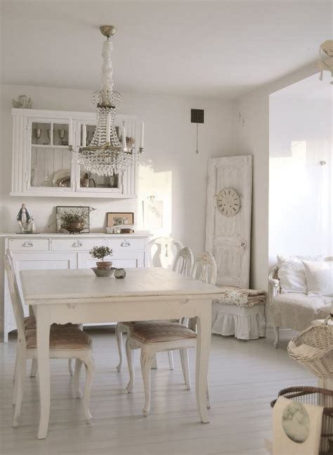 White Dining Room Dining Room White Grey Black Chippy Shabby Chic Whitewashed Cottage Country