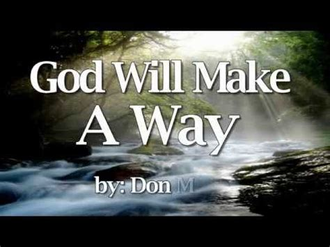 god will make a way don moen religious song