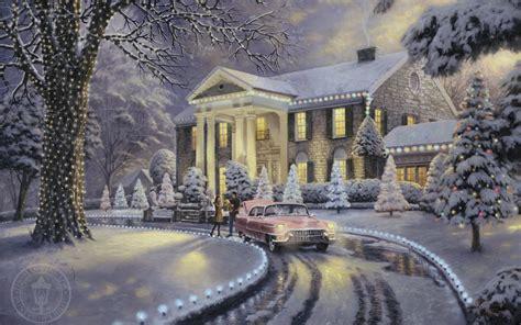 thomas kinkade christmas houses christmas at graceland thomas kinkade painting holiday christmas christmas tree car