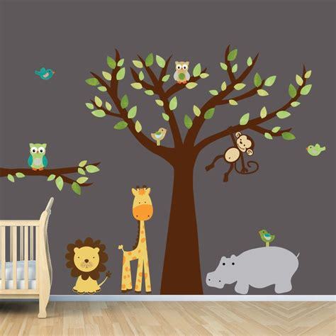 Brown Tree Wall Decal Nursery Vinyl Wall Decal Tree Wall Decals Monkey Wall Decal Nursery Wall Decal Jungle Wall Decal