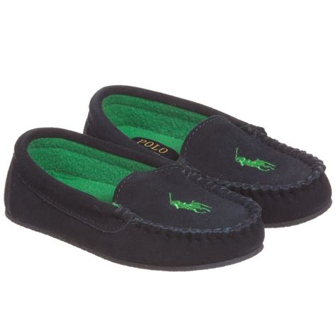 boys slippers polo ralph boys navy blue suede moccasin slippers